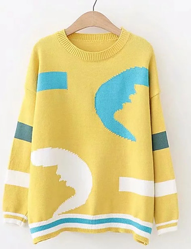 6dc21e51e9bd Women s Daily Basic Geometric   Color Block Long Sleeve Regular Pullover