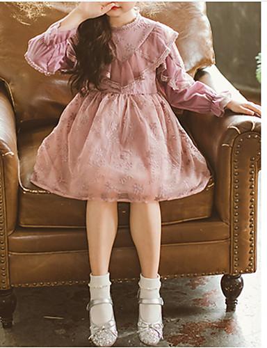 Djeca Djevojčice Osnovni Dnevno Jednobojni Dugih rukava Haljina Blushing Pink / Pamuk