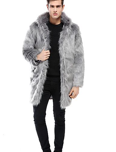 c7df06e87f Men's Daily Street chic Plus Size Long Coat, Solid Colored Rolled collar  Long Sleeve Faux Fur / Wool Blend Black / Light gray XXXL / XXXXL / XXXXXL  6996967 ...
