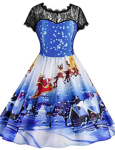 preiswerte Weihnachts-Shop-Damen Grundlegend Schlank Swing Kleid Geometrisch Midi Hohe Taillenlinie