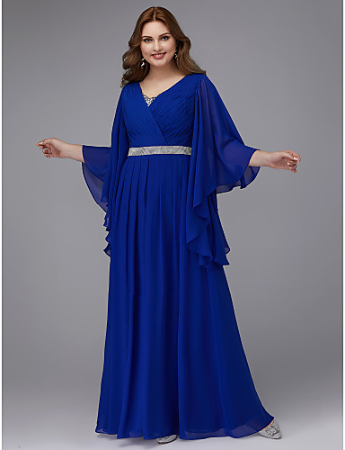 cheap Special Occasion Dresses-A-Line Plus Size Blue Wedding Guest Formal Evening Dress V Neck Long Sleeve Floor Length Chiffon with Crystals Sequin 2020