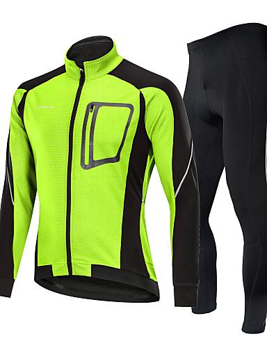 cheap Cycling-Nuckily Men's Long Sleeve Cycling Jacket with Pants Winter Fleece Nylon Spandex Black / Red Black Black / Green Patchwork Bike Thermal Warm Windproof Fleece Lining Warm Sports Patchwork Mountain Bike