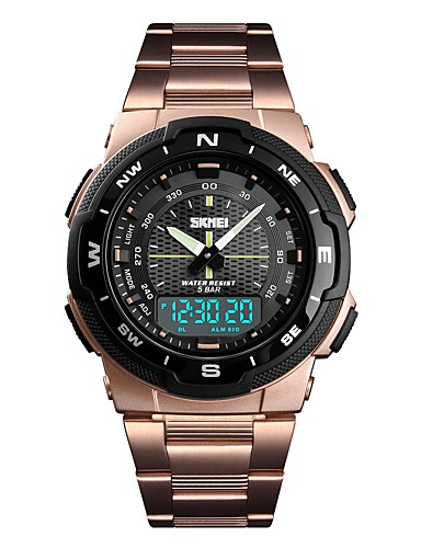 79fb079c4f9 SKMEI Men s Sport Watch Military Watch Digital Watch Digital Stainless Steel  Black   Silver   Gold 50 m Alarm Calendar   date   day Chronograph Analog  ...