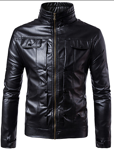 913264d7d9f Men s Daily   Club Street chic   Punk   Gothic Spring   Fall   Winter Plus  Size Regular Leather Jacket