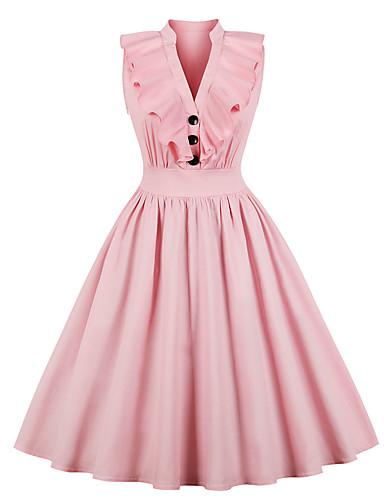 preiswerte Staubige Rose-Damen Übergrössen Elegant A-Linie Kleid Midi V-Ausschnitt Staubige Rose