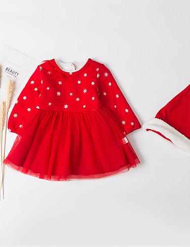 Dijete Djevojčice Aktivan / Osnovni Dnevno Crno-crvena Kolaž Kolaž Dugih rukava Duga Dug Midi Pamuk Haljina Red / Dijete koje je tek prohodalo