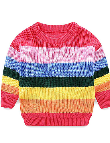 Dijete Djevojčice Aktivan Prugasti uzorak Dugih rukava Regularna Džemper i kardigan Red / Dijete koje je tek prohodalo