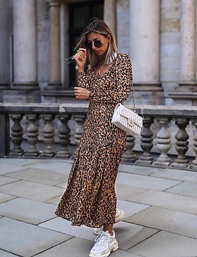 levne Maxi šaty-Dámské Party Na běžné nošení Sexy Abaya Šaty - Leopard Maxi Do V Vysoký pas