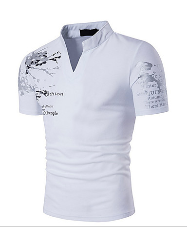 cheap Henley Shirts-Men's Daily T-shirt Graphic Solid Colored Print Short Sleeve Slim Tops Cotton Active Boho Stand Collar White Black Red / Sports / Summer