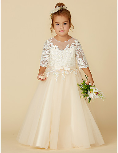 c27267a8c4e7 Princess Floor Length Flower Girl Dress - Lace / Tulle Half Sleeve Illusion  Neck with Appliques / Bow(s) / Buttons by LAN TING BRIDE® 6920168 2019 –  $67.99