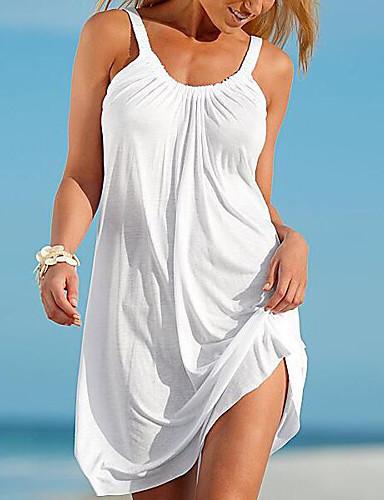 preiswerte Damen Kleider-Damen Strand Etuikleid Kleid Solide Mini Gurt Weiß