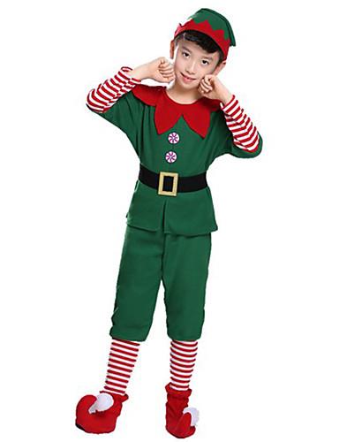 preiswerte Kostüme für Kinder-Elf Cosplay Kostüme Weihnachtsmann kleiden Kinder Erwachsene Teen Herrn Weihnachten Weihnachten Karneval Kindertag Fest / Feiertage Plüsch Terylen Grün Karneval Kostüme Urlaub