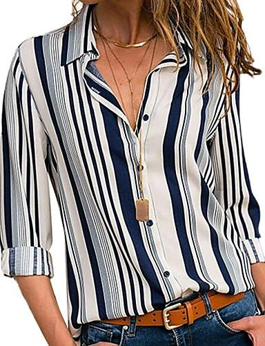 billige Skjorter til damer-Skjortekrage Store størrelser Skjorte Dame - Stripet Grunnleggende Hvit