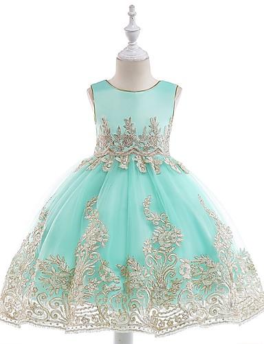 16d96c894056c [$29.99] Princess Tea Length Flower Girl Dress - Tulle Sleeveless Jewel  Neck with Sash / Ribbon by LAN TING Express