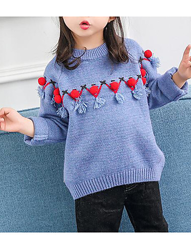 2ac41ca8347 Baby Girls  Basic Geometric Long Sleeve Regular Polyester Sweater   Cardigan  Blue   Toddler 7040539 2019 –  16.06