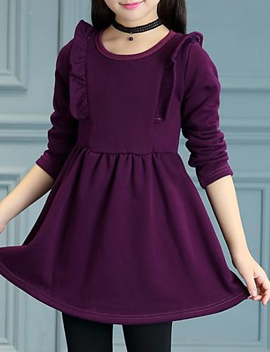 Kinder Mädchen Grundlegend Solide Langarm Kleid Rosa ...