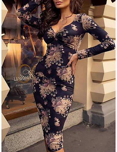 cheap Print Dresses-Women's Bodycon Midi Dress - Long Sleeve Floral V Neck Sexy Party Slim Navy Blue S M L XL XXL
