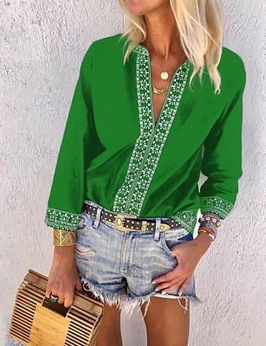 billige Skjorter til damer-Dyp V Store størrelser Skjorte Dame - Blomstret Fritid Grønn