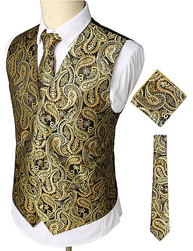 voordelige Uitverkoop-Heren Werk / Club Zakelijk / Luxe / Vintage Lente / Herfst / Winter Normaal Vest, Paisley V-hals Mouwloos Katoen / Spandex Print Goud / Business Casual / Slank