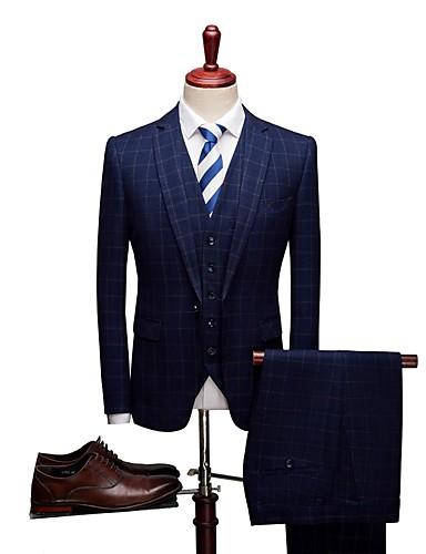 Jednobojni / Prugasti uzorak Standardni kroj Spandex / polyster Odijelo - Stepenasti Droit 1 bouton / odijela