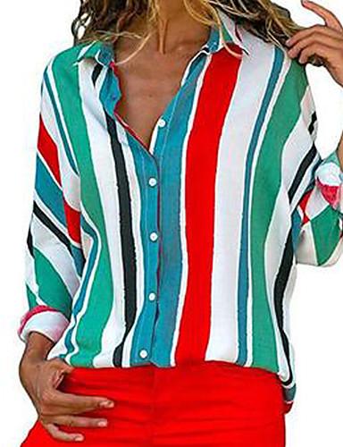 billige Skjorter til damer-Løstsittende Skjortekrage Skjorte Dame - Fargeblokk / Regnbue Grunnleggende Blå