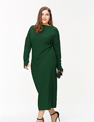 6dd15ba54e2 Women s Daily Basic Maxi Sweater Dress Green Black Yellow XL XXL XXXL  6996265 2019 –  25.19