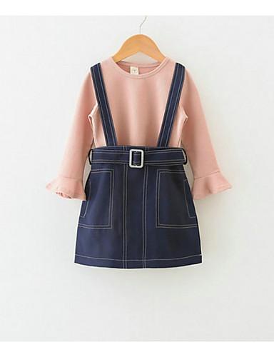 Djeca Djevojčice Osnovni Dnevno Jednobojni Dugih rukava Regularna Normalne dužine Pamuk Komplet odjeće Blushing Pink