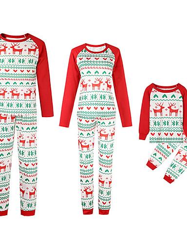 Obiteljski izgled Aktivan Božić Dnevno Životinja Dugih rukava Komplet odjeće Red