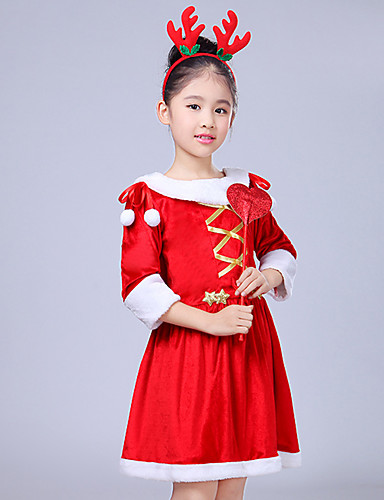 preiswerte Kostüme für Kinder-Cosplay Kostüme Weihnachtsmann kleiden Kinder Mädchen Weihnachten Weihnachten Silvester Fest / Feiertage Wolle Rote Karneval Kostüme Urlaub