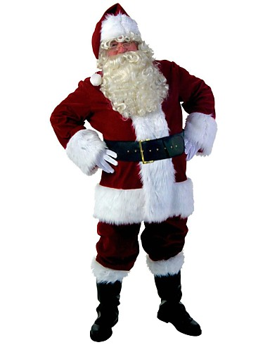 cheap Santa Suits & Christmas Costumes-Santa Clothes Adults Adults' Men's Halloween Christmas Christmas Halloween Carnival Festival / Holiday Polyster Red Men's Easy Carnival Costumes Solid Colored Christmas / Top / Pants / Gloves / Hat