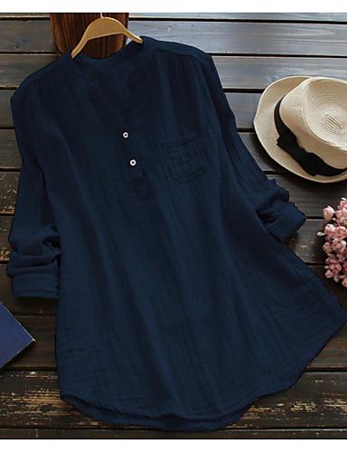billige Dametopper-Løstsittende Høy krage Store størrelser Skjorte Dame - Ensfarget Gatemote Blå