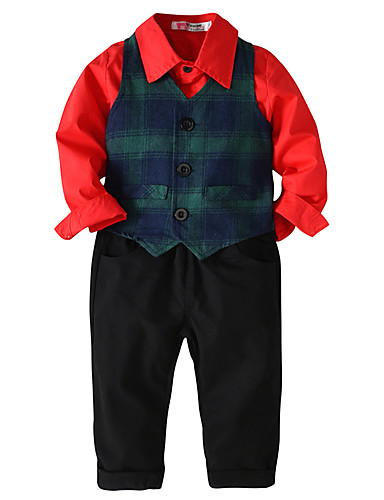 Djeca Dijete koje je tek prohodalo Dječaci Aktivan Osnovni Party Dnevno Jednobojni Prugasti uzorak Dugih rukava Regularna Normalne dužine Pamuk Komplet odjeće Red