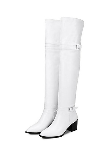 cheap 11.11 - Women's Boots Top Seller-Women's Boots Knee High Boots Chunky Heel Closed Toe PU Knee High Boots Winter Black / White