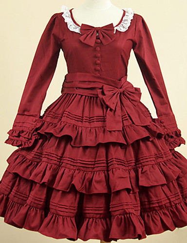 cheap Lolita Dresses-Artistic / Retro Sweet Lolita Dress Girls' Female Cotton Japanese Cosplay Costumes Red Solid Colored Vintage Petal Sleeve Long Sleeve Knee Length