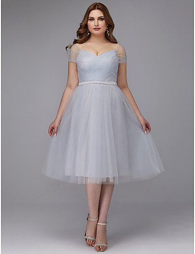 cheap Cocktail Dresses-Back To School A-Line Elegant Cocktail Party Prom Dress Off Shoulder Short Sleeve Tea Length Tulle with Sash / Ribbon Criss Cross 2020 Hoco Dress