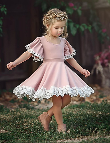cheap Kids' Fashion-Colorful Childhood Baby Girls Dress Toddler Girls Flare Lace Trim Princess Party Dress