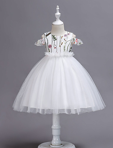 8184ab02f327a Princess Tea Length Flower Girl Dress - Tulle Sleeveless / Short Sleeve  Jewel Neck with Petal / Appliques by LAN TING Express 7013728 2019 – $19.99