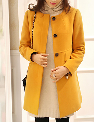 cheap Women's Coats & Trench Coats-Women's Turtleneck Coat Long Solid Colored Daily Basic Plus Size Black Red Yellow S M L / Slim