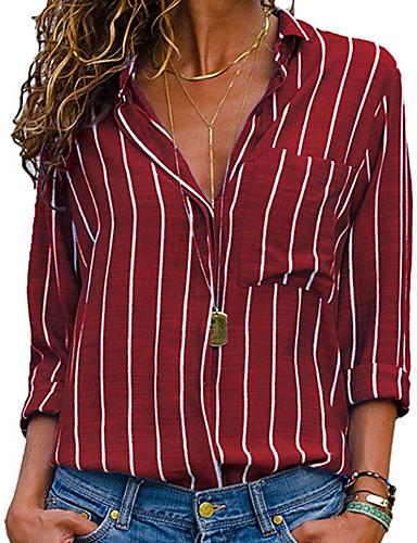 billige Skjorter til damer-Skjortekrage Skjorte Dame - Geometrisk Grunnleggende Rød