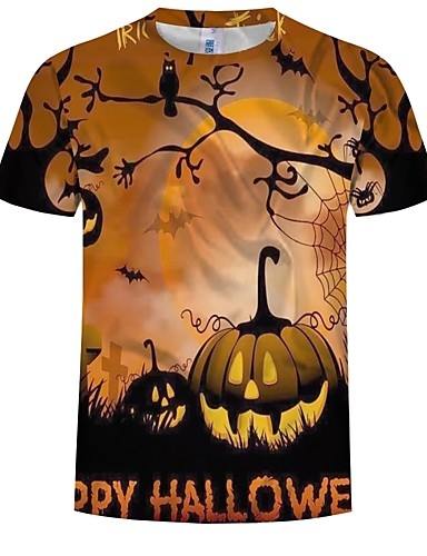 cheap Anime Costumes-Inspired by Cosplay Cosplay Anime Cosplay Costumes Japanese Cosplay T-shirt Graphic / Pumpkin / Halloween Short Sleeve T-shirt For Men's
