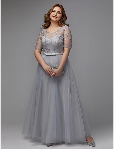 voordelige Grote maten jurken-A-lijn Met sieraad Tot de grond Tule Schoolfeest Jurk met Lace Insert door TS Couture®