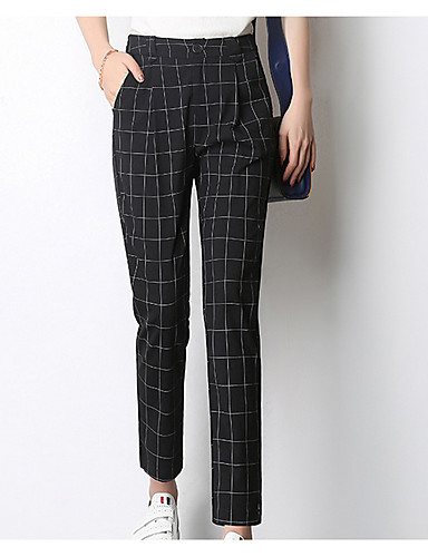 fc2561b387d506 Women's Street chic Plus Size Harem Pants - Check High Waist Black 7030013  2019 – $33.99