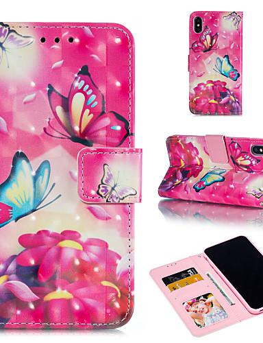 Θήκη Za Apple iPhone XS / iPhone XR / iPhone XS Max Novčanik / Utor za kartice / sa stalkom Korice Rukav leptir / Cvijet Tvrdo PU koža