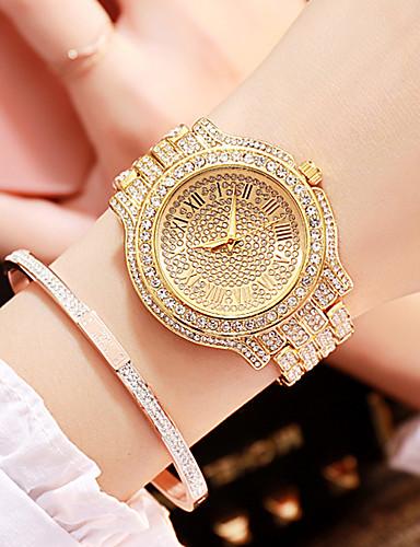 Žene Luxury Watches Ručni satovi s mehanizmom za navijanje Diamond Watch Kvarc Nehrđajući čelik Srebro / Zlatna / Rose Gold 30 m New Design imitacija Diamond Analog dame Luksuz Moda - Zlato Pink Rose