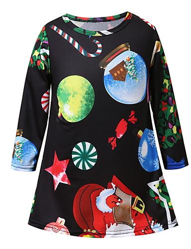 Mama i mene Aktivan Božić Dnevno Geometrijski oblici Božić Dugih rukava Haljina Djetelina