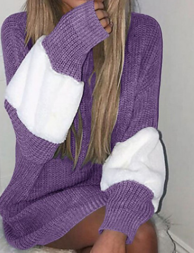 fcc6bf567ffa Femme Quotidien   Décontracté Décontracté   Basique   Tricot Bandes    Oversize Bloc de Couleur Manches Longues Normal Pullover Gris   Violet    Kaki M   L ...