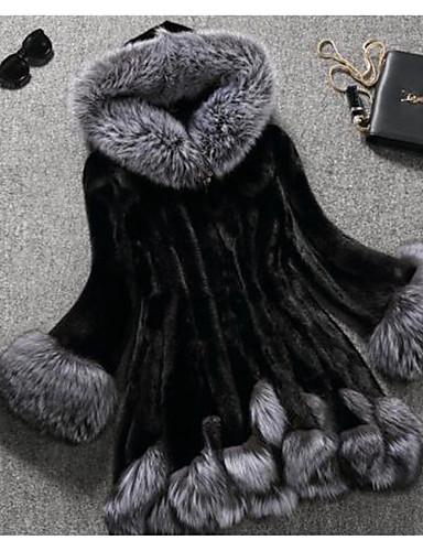 levne Dámské kabáty a trenčkoty-Dámské Zima Větší velikosti Dlouhé Faux Fur Coat, Barevné bloky Bílá Kapuce Dlouhý rukáv Umělá kožešina Bílá / Černá