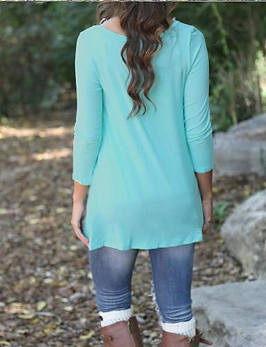 billige T-skjorter til damer-Bomull T-skjorte Dame - Ensfarget Grunnleggende Rosa