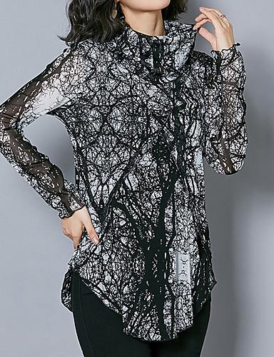 billige Dametopper-Tynn Rullekrage Bluse Dame - Leopard Svart
