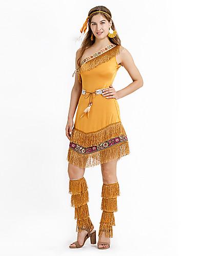 povoljno Maske i kostimi-Američki Indijanac Izgledi Žene Kostim Braon Vintage Cosplay Kratkih rukava Mini Srednje čvrsto